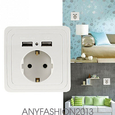 Dual USB Port Electric Wall Charger Station Socket Adapter Power Outlet EU HT5