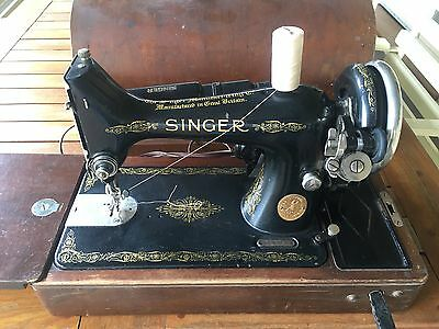1935 Singer Vintage Sewing Machine with case and motor, EA123742