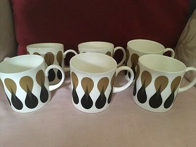 Wedgwood Susie Cooper Diablo Pattern Set Of Six Coffee Cups/Cans Expresso Size