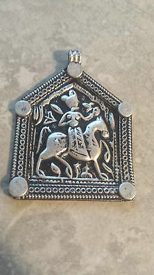 Bhumiya - Old antique tribal silver necklace amulet pendant Hindu 11.6 Grams