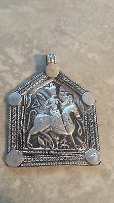 Bhumiya - Old antique tribal silver necklace amulet pendant Hindu 11.2 Grams