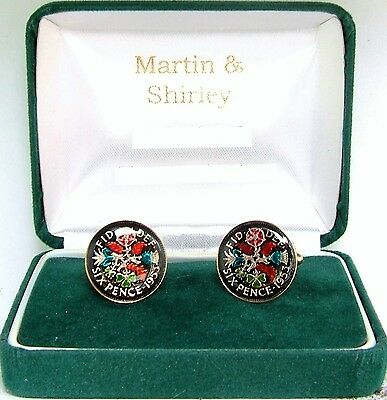 1953 Six pence cufflinks  real coins in Black & Colours