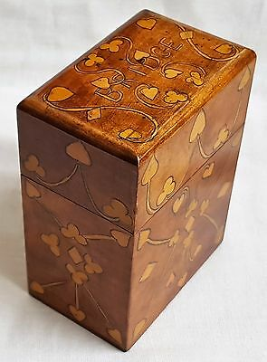 Antique Wooden Playing Card Box Bridge Pen & Ink Penwork Decoration