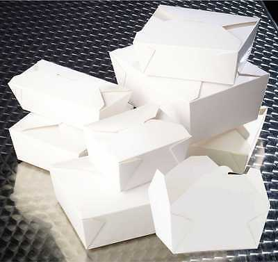 White Deli Boxes - Takeaway Food Containers - Noodles Rice Box -  folding lids