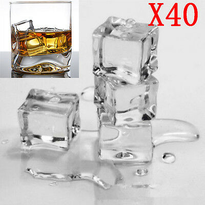 40pcs Wedding Party Display Artificial Acrylic Ice Cubes Crystal Clear Decorate