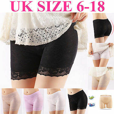 Women Elastic Safety Lace Ice Silk Under Shorts Pants Leggings Render Size 4-22