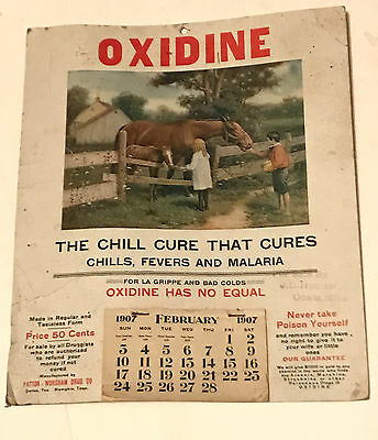Vintage Oxidine 1907 Flyer Wall Calendar The Chill Cures Malaria FREE SHIPPING