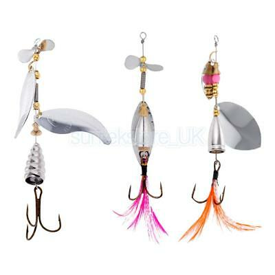 Metal Fishing Lure Spinner Bait Spoon Fish Tackle Bass Trout Crankbait Hooks 4#