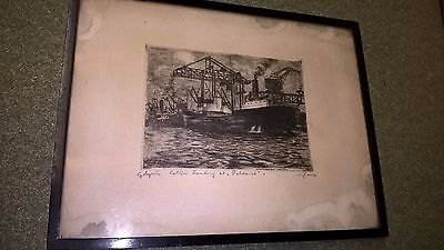 Pen and Ink original framed drawing Ship in Dock Circa 1950 ?