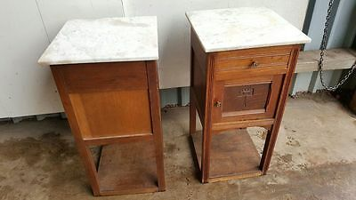 Pair of Marble Topped French Bedside Cabinets