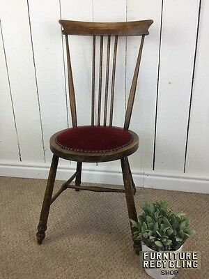 Round Seat Antique Spindle Chair. Traditional Solid Wood.