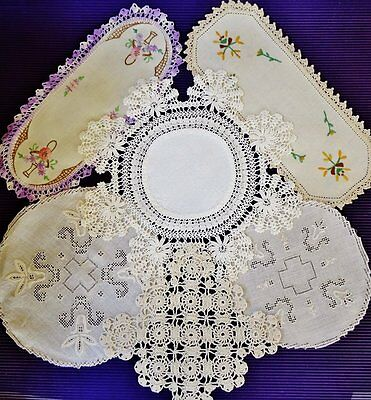 Vintage Selection of *6 ASSORTED DOILIES* Sandwich Tray-Medallion-Crochet Edges