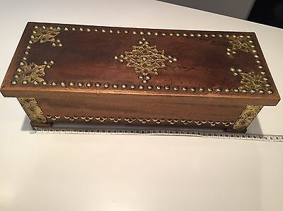 *Lovely * Vintage Wooden Box With Stud Detail