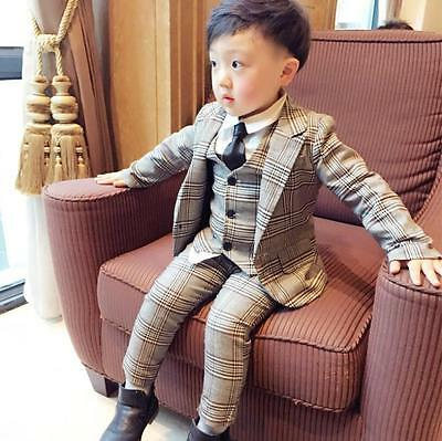 Kids Boys Check Suits Wedding Suit Prom Page Boy Baby Formal Party Suits 3Pcs