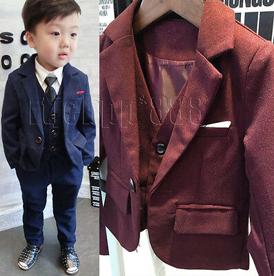 3 Piece Boys Tweed Blue Suit Wedding Suit Page Boy Baby Formal Party Suits New