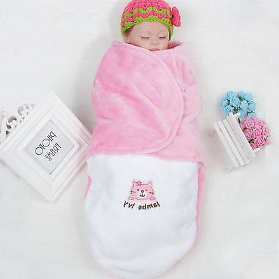 Newborn Baby Infant Swaddle Wrap Warm Blanket Soft  Flannel Fleece Sleeping Bag