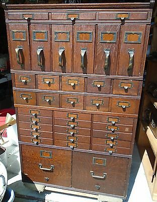 Antique Oak Stacking File  Cabinet - 40 Drawers- needs base - Original Finish