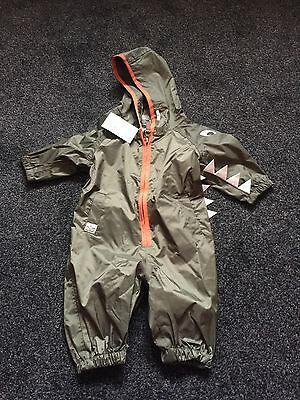 Next Green Crocodile Baby Rain Suit All In One 3-6months Up To 18lbs Brand New