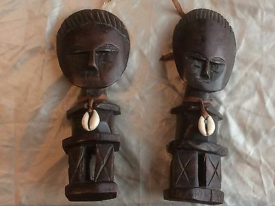 Pair of old African tribal art hardwood figures.