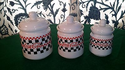 Vintage Gibson 1996 Coca Cola Canisters - Set Of 3: Large, Medium And Small