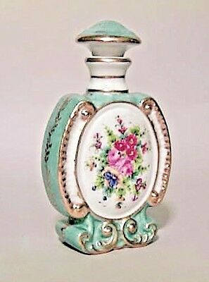 French Victorian Blue and White Porcelain Perfume Bottle with Stopper