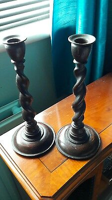 Pair of Wooden Barley Twist Candlesticks candle holders