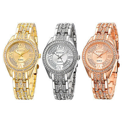 Gold Ladies Women Crystal Diamond Stainless Steel Bracelet Quartz Wrist Watch