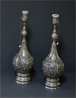 Exceptional Pair Marked Spanish Solid Silver Lamps Grapes Vines Lighting