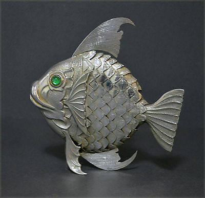 Unusual Spanish Solid Silver Articulated Fish Figurine Fishing