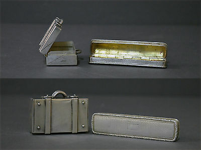 Collectable Pair Spanish Solid Silver Pill Box Suitcase Toothpick Holder