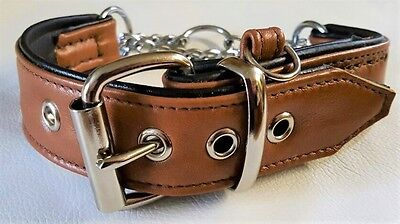 Tan Brown and Black leather Martingale dog collar with ID loop tag