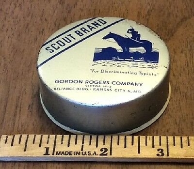 Scout Brand Advertising Typewriter Ribbon Tin, Gordon Rogers Co. C-1950s Indian