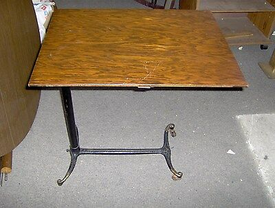 Antique Industrial Cast Iron Base Adjustable Hospital Tray Table With Oak Top