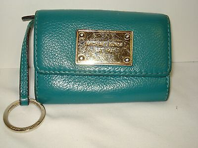Michael Kors Teal Leather Mini Wallet Keycase Card Case Key Ring