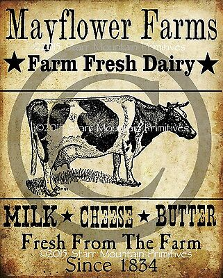 Primitive Cow Dairy Farm Milk Cheese Butter Print 8x10