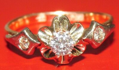 BEAUTIFUL SECONDHAND 14ct  GOLD RUSSIAN  DIAMOND  SOLITAIRE RING SIZE L