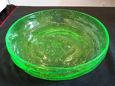 "RARE 1920's Consolidated Catalonian 12 1/4"" Green Lily Pond Shallow Bowl Exc"