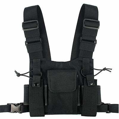 Two Way Radio Chest Harness Holder Bag Holster Hands Free Walkie Talkie Strap