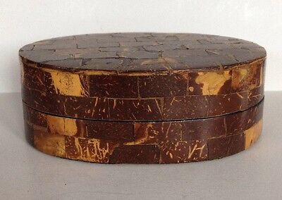 Antique Marquetry Box Oval Inlaid Wood Vintage Trinket Box