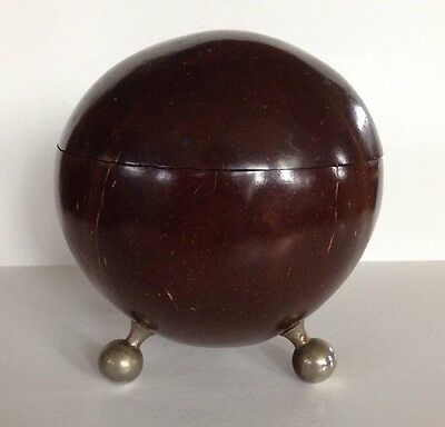 Coconut Shell Antique Footed Round Hinged Trinket Jewelry Box Folk Art Vintage