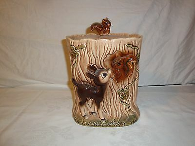 Cookie Jar Baby Deer Fawn And Squirrels Made In Japan Imported By Giftcraft