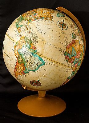 "Vintage-c 1980s-REPLOGLE-12"" DIAMETER-WORLD-CLASSIC-SERIES-GLOBE-On-Metal-Stand"