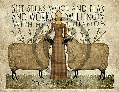 Primitive Folk Art Seeks Wool and Flax Sheep Proverbs Bible Verse Print 8x10