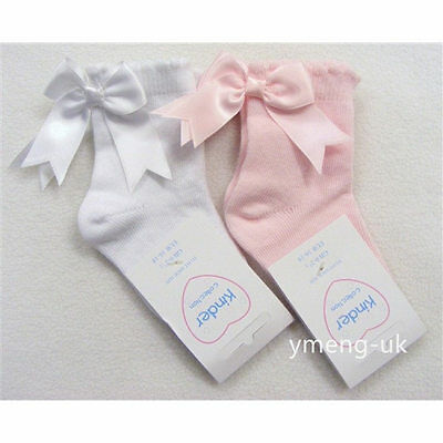 Gorgeous Baby Girl Spanish Scallop Trim Back Bow Ankle Socks/Infant Socks