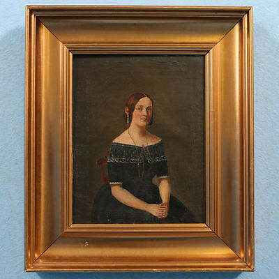 Small Original 19th Century Antique Oil Painting, Portrait of a Young Woman
