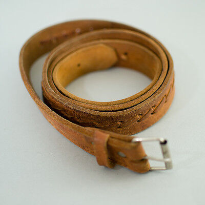 True Vintage Men's Worn Distressed Tan Brown Leather Belt Large 36 38 40 42