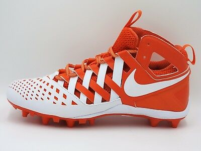Nike Huarache 5 LAX TD Lacrosse Cleats Mid 807142-611,White/Orange,Men's 8-13