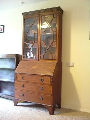 Victorian Edwardian Mahogany Bureau Desk Secretaire Display Book Case Cabinet