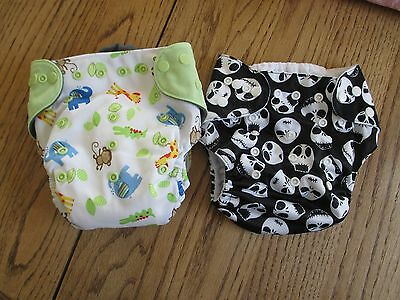 EcoAble Baby Charcoal Bamboo AIO All-In-One Cloth Diaper, ALVO COVER, LOT OF 2