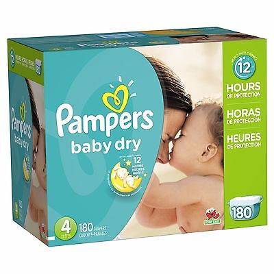 Pampers Baby Dry Size 4 Diapers Economy Plus Pack - 180 Count // PAL